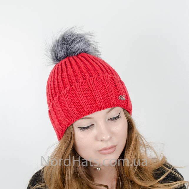 Женская шапка с помпоном  (Коралл)