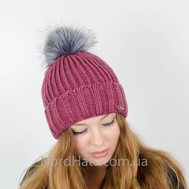 Женская шапка с помпоном  (Сирень)