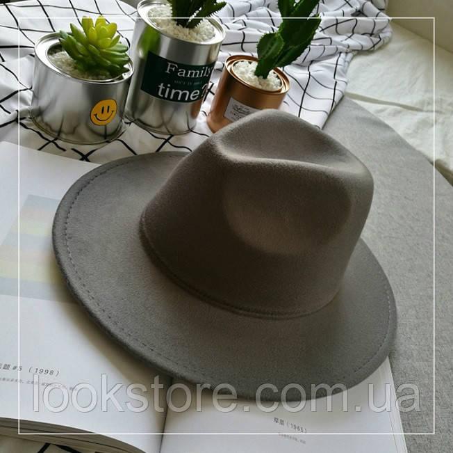 Шляпа женская Федора с устойчивыми полями серая