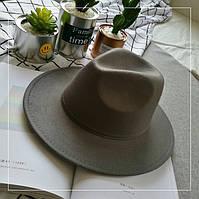 Шляпа женская Федора с устойчивыми полями серая, фото 1