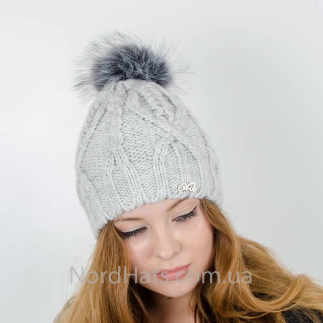 Женская шапка с помпоном  (Светло-серый)