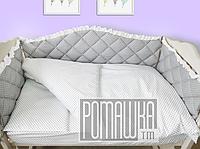 Набор в детскую кроватку из 6 предметов мягкие бортики большое одело 140х100 подушка 3992 Серый