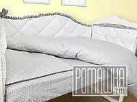 Набор в детскую кроватку из 6 предметов мягкие бортики большое одело 140х100 подушка 3992 Светло-серый