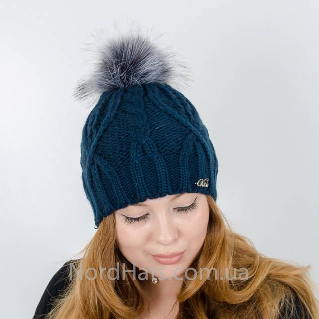 Женская шапка с помпоном  (Темно-синий)