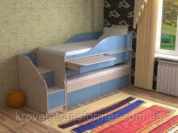 """Двухъярусная кровать """"Пара"""" ваниль +голубой"""