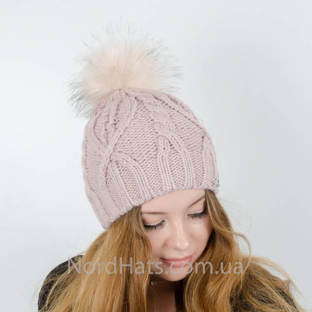 Женская шапка с помпоном  (Пудра светлая)