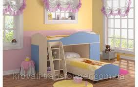 """Двухъярусная кровать """"Нежность""""  дуб молочный + голубой"""