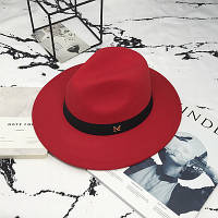 Шляпа женская Федора с лентой в стиле Maison Michel и устойчивыми полями красная, фото 1