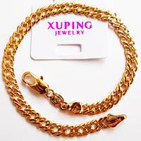 Браслет на руку, длина 21 см, ширина 5 мм. Ювелирная бижутерия Xuping Jewelry, позолота 18К., фото 1