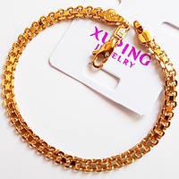 Браслет на руку, длина 21 см, ширина 4 мм. Ювелирная бижутерия Xuping Jewelry, позолота 18К. , фото 1