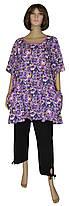 Блузка туника женская летняя с карманами 03052 Darja Batal Violette, коттон, р.р.62,64,66