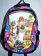 Женский школьный рюкзак Weideli 25*35 см (черный с розовым)