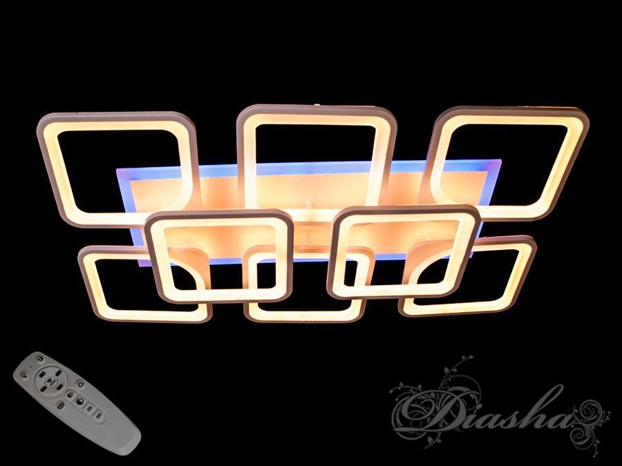 Прямоугольная светодиодная люстра MX2281/6+2WH LED dimmer