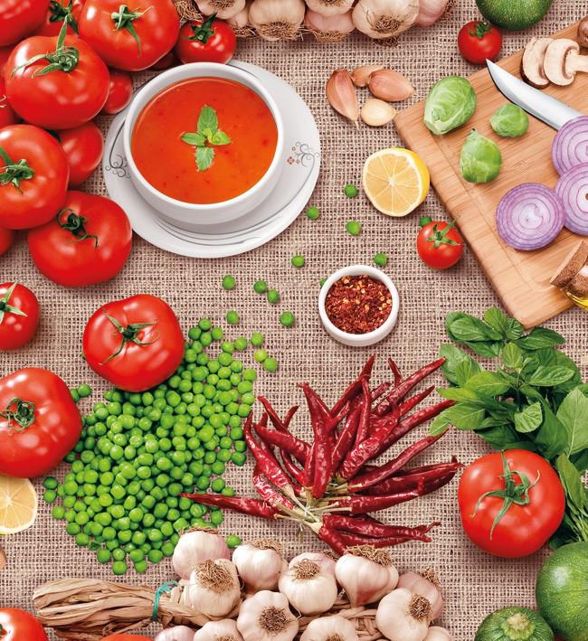 Прочная и долговечная клеенка Люкс на кухонный стол с красочным принтом овощи