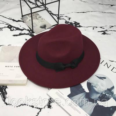 Шляпа женская Федора с устойчивыми полями и бантиком бордовая (марсала)