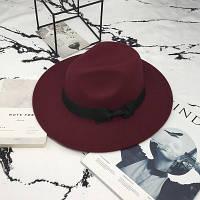 Шляпа женская Федора с устойчивыми полями и бантиком бордовая (марсала), фото 1