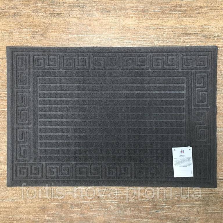 Придверный коврик, прямоугольный, из полиэстера на резиновой основе.
