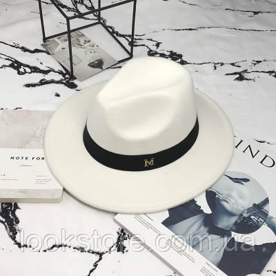 Шляпа женская Федора с лентой в стиле Maison Michel и устойчивыми полями белая