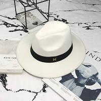 Шляпа женская Федора с лентой в стиле Maison Michel и устойчивыми полями белая, фото 1