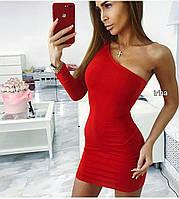 1b676c0dd2f Женское стильное платье короткое на одно плечо трикотаж красное черное  синее бутылка