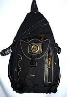 Мужской брезентовый черный рюкзак 30*47 см