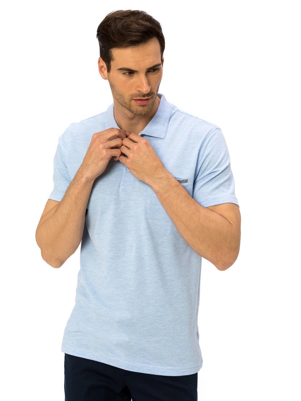 Голубое мужское поло LC Waikiki / ЛС Вайкики с карманом на груди