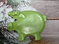 Зеленый хрюх, мыло 220 г, ручная работа. Клевый подарок на рождество друзьям.