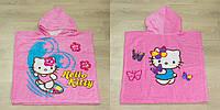Пляжное полотенце пончо детское kitty flower