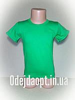 Детская однотонная зеленая футболка 2,3,4,5,6,7,8,9,10,11 12,13,14,15 лет, фото 1