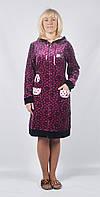 Женский велюровый длинный халат с капюшоном - кружки в сердцах