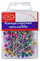 Булавки цветные - пластиковый бокс 150шт 34мм E1022