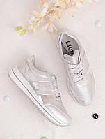 Серебристые кроссовки женские с надписью Sport 25833, фото 1
