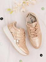 Золотистые кроссовки женские с надписью Sport 25832, фото 1