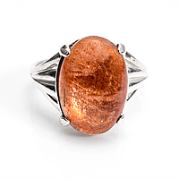 Солнечный камень, 16*12 мм., серебро 925, кольцо, 905КС