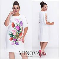 Платье с цветочным принтом, белое,тюльпаны,размеры 50-56,костюмка