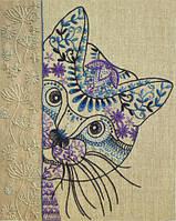 Набор для вышивки нитками (декоративные швы) Любопытный кот