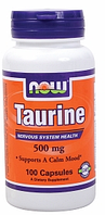 Таурин, Now Foods, Taurine, 500mg, 100caps