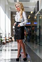 Женская белая блуза с вышивкой спереди (2303 svt), фото 3