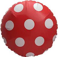 Шар круг фольгированный, КРАСНЫЙ В ГОРОХ  - 45 см (18 дюймов)