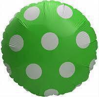 Шар круг фольгированный, ЗЕЛЕНЫЙ В ГОРОХ  - 45 см (18 дюймов)