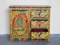 Тумба три ящика одна дверца Снежные Львы, Махакала