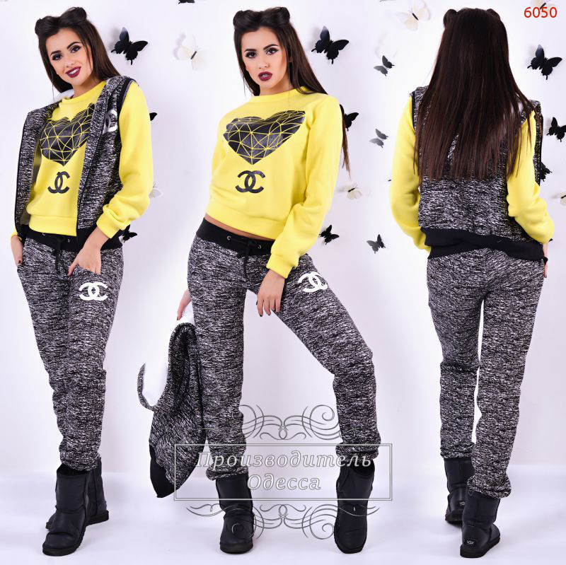 Спортивный теплый костюм тройка  жилетка, кофта и штаны реплика Шанель -  AMONA интернет- eac237f69b2