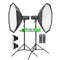 Набор постоянного диодного света Godox SL-200W LED Ø90-2 KIT соты, 2х200w, 40-4000 Вт, 5500К