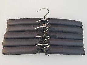 Плечики вешалки мягкие сатиновые для деликатных вещей черного цвета,  длина 38 см, в упаковке 5 штук, фото 2