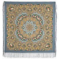Жизель 1783-10, павлопосадский платок шерстяной (двуниточная шерсть) с шелковой вязаной бахромой, фото 1