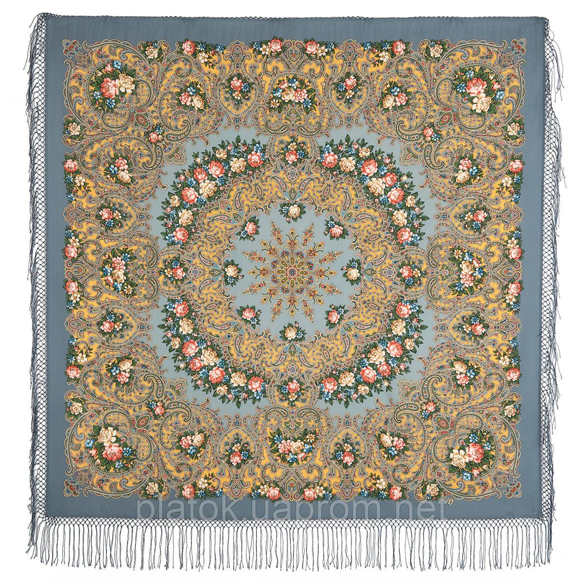 Жизель 1783-10, павлопосадский платок шерстяной (двуниточная шерсть) с шелковой вязаной бахромой