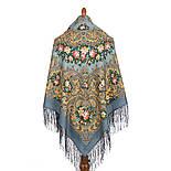 Жизель 1783-10, павлопосадский платок шерстяной (двуниточная шерсть) с шелковой вязаной бахромой, фото 3