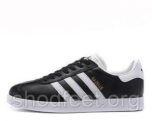 Мужские кроссовки Adidas Gazelle Vintage Leather Black White