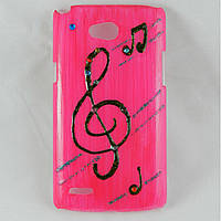 "Чехол накладка на LG L80 Dual SIM D380, ручной работы ""Pink Music"""