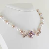 Великолепное ожерелье с кристаллами Swarovski, покрытое золотом 0908